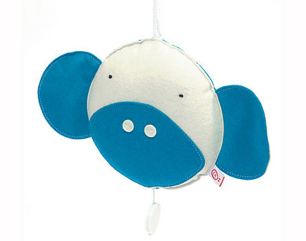 musical monkey is made of colourful wool felt and and softly padded with a pull cord for music
