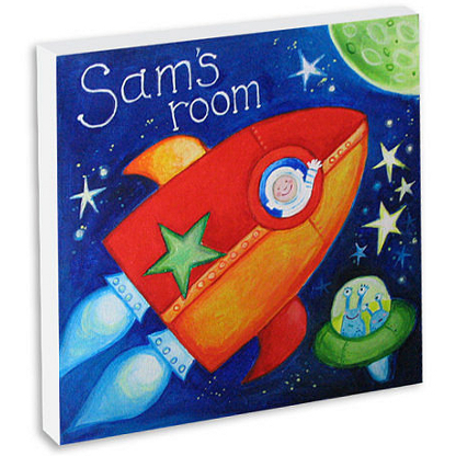 Hand painted and personalised space rocket canvas
