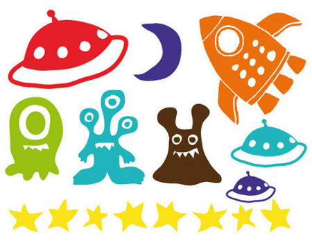 Boy's space themed wall stickers