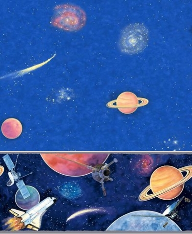 Space themed wallpaper and border