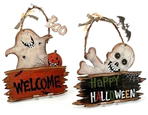 Wooden Halloween Welcome Signs