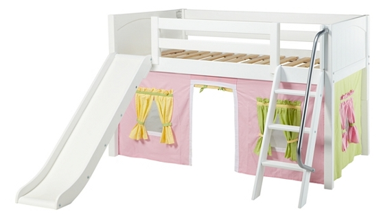 Maxtrix Low Loft Bed with Angled Ladder, Slide and Underbed Curtain