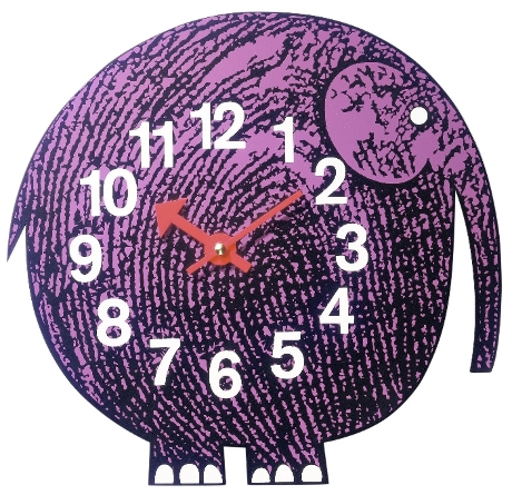 Children's wall clock in the style of abig round purple elephant