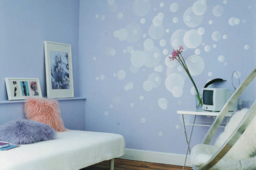 A pale blue decorating scheme with white bubbles effect