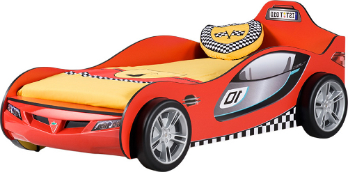 Boy's red race car bed