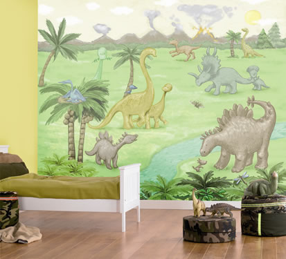 Kid's dinosaur wall mural