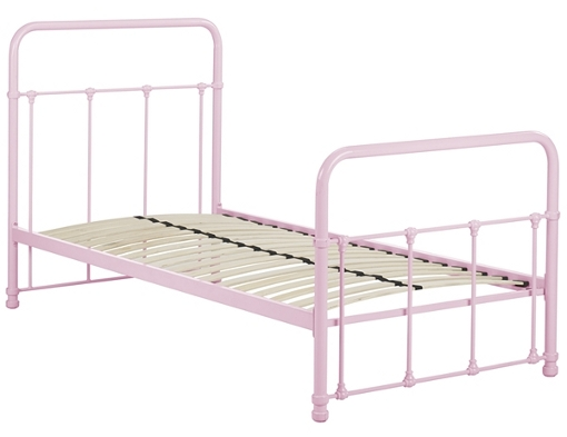 Children's pink metal bedstead