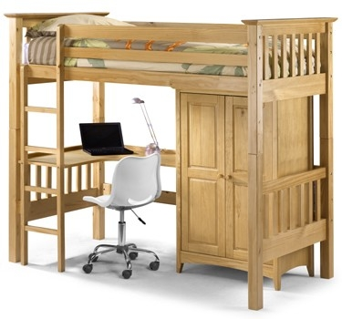 Kid's high sleeper bed with corner desk and staorage cupboard