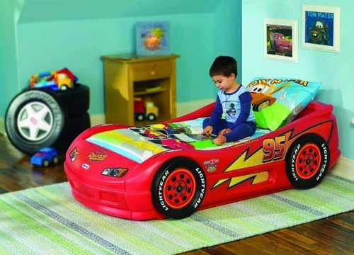 Boys toddler bed themed on teh Diney Cars movie character  Lightning McQueen