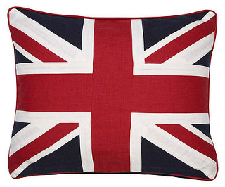 Red, white and blue linen cushion