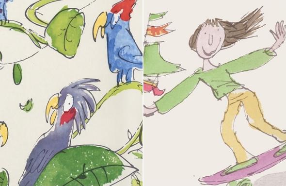 Children's wallpaper designed by Quentin Blake