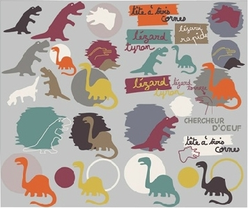 Funky dino themed wall stickers