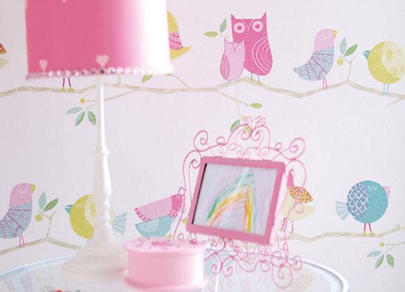 Children's owl themed wallpaper