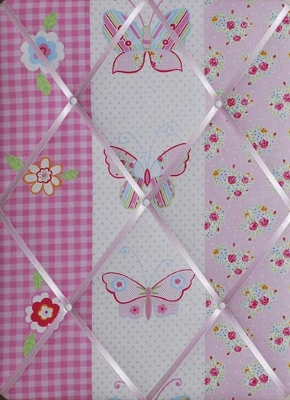 Children's fabric noticeboard with pink butterflies and gingham