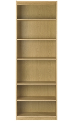 Tall and slim bookcase made from oak veneer
