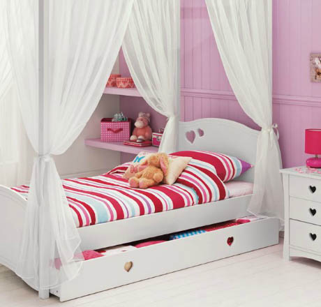 Molly White Four Poster Single Bed