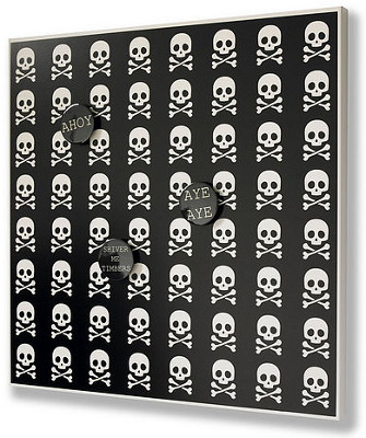 Black magnetic noticeboard with skull and crossbones motif