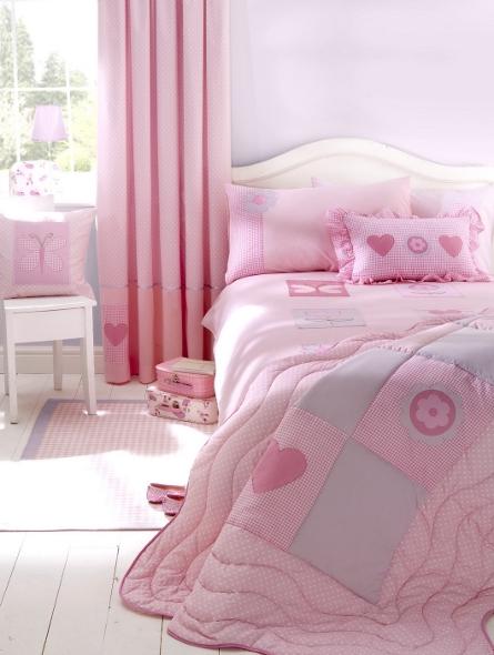 Pink vintage floral patchwork quilt
