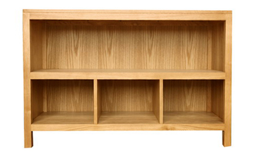 Low level bookcase made from ash veneer