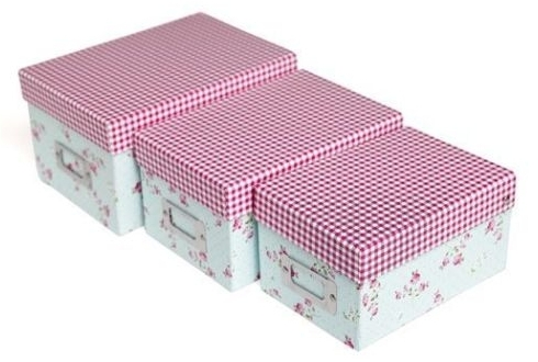 3 storage boxes with pink rose design and gingham lid