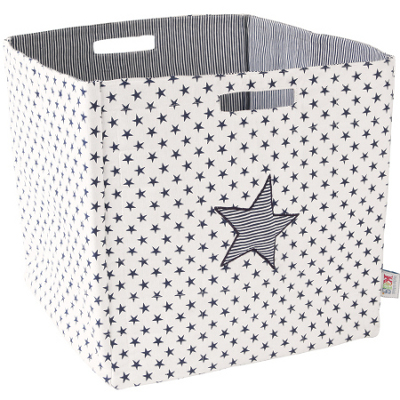 Boys storage container with black stars on a white background