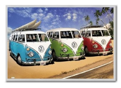VW Campers On The Beach Poster Magnetic Notice