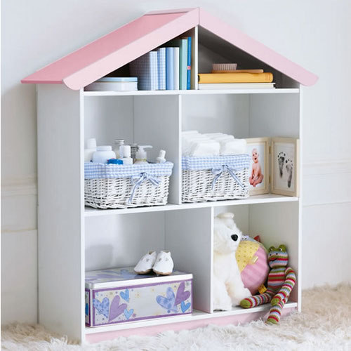 Kid's bookcase shaped like a doll's house