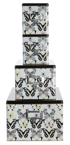 Stacking storage tins with a classic butterfly design