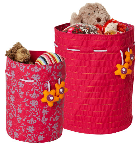 Brightly coloured children's storage bags with a tie fastening top