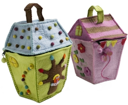 Handmade felt storage bags in the shape of little houses
