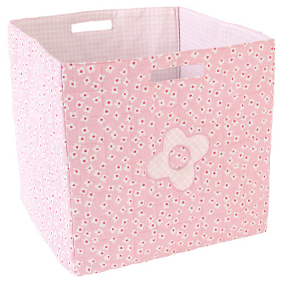 Pink soft sided storage container with soft sides
