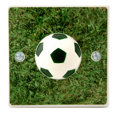 Wall mounted light fitting with grass picture background and football shaped switch