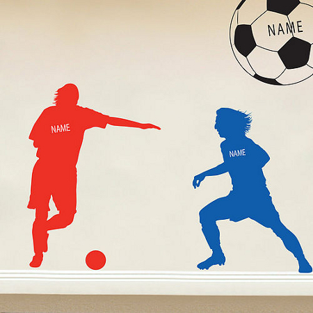 Children's personalised wall stickers depicting two footballers
