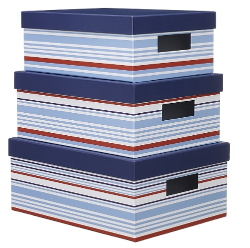 Blue, white and red storage boxes with cut-out handles