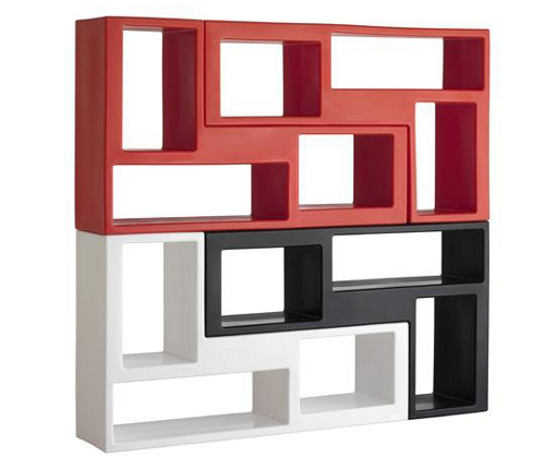 Book shelving made from modular units in red, white and black