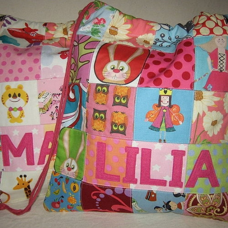Personalised patchwork fabric storage bags
