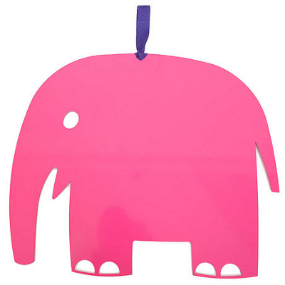 Children's elephant sahped notice board in bright pink