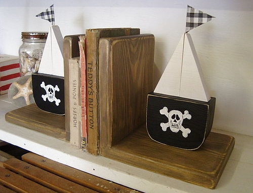 Chunky wooden pirate bookends