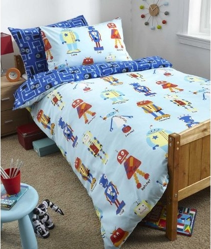 Kid's blue robots bedding set