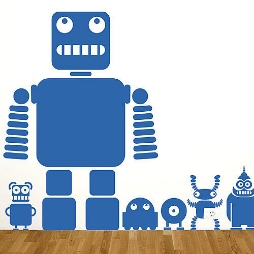 Large format robot wall stickers