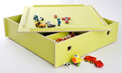 Under the bed storage box which doubles as a play table