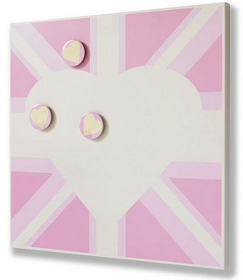 Pink magnetic noticeboard with a union Jack design