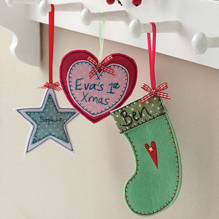 Little embroidered felt stocking, heart and star