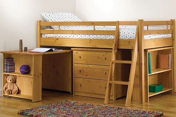 Children's cabin style bed with drawer unit, bookcase and desk
