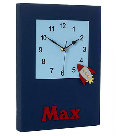Boy's personalise wall clock with a retro space rocket design