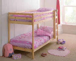 Pine bunk bed with pink bedding