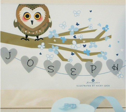 Owl sitting on a branch design name plate