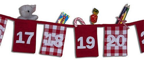 Cotton advent countdown bunting with pockets for little gifts