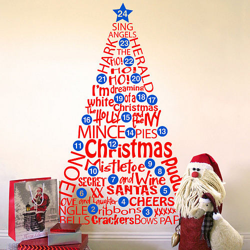 Christmas tree wall sticker with numbered baubles so they can count down the days to Christmas