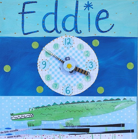 Boy's personalised wall clock with a crocodile painting